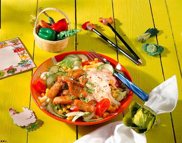 h hnchen salat mit joghurtso e rezept chefkoch rezepte auf kochen backen und. Black Bedroom Furniture Sets. Home Design Ideas