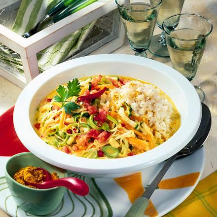Buntes Curry-Gemüse mit Reis Rezept