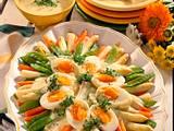 Buntes Spargelgemüse mit Eiern und Sauce Béarnaise Rezept