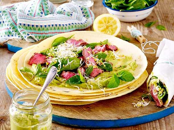 Burrito mit Roastbeef, Avocadocreme und Spinat Rezept