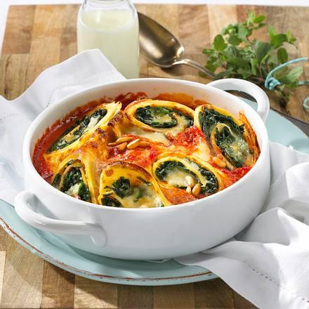 Buttermilch-Pfannkuchen mit Spinat Rezept