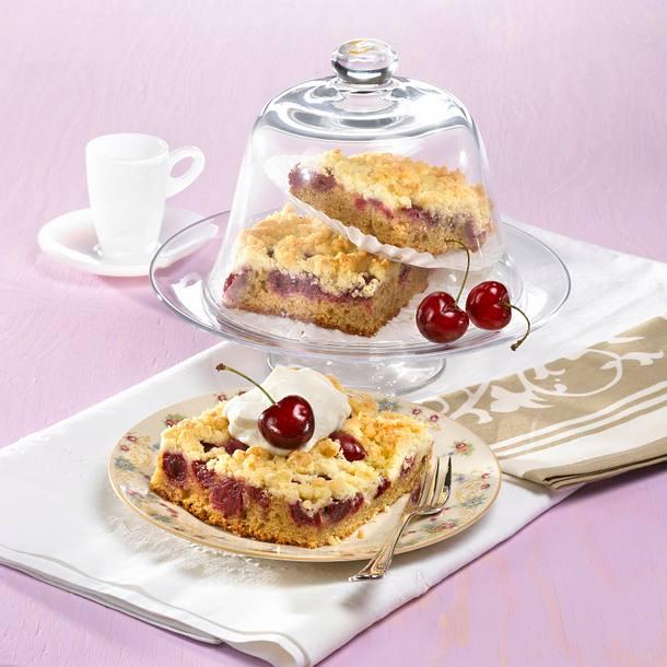 Café-Latte-Kirsch-Streuselkuchen Rezept