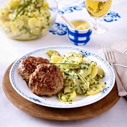 Camembertfrikadellen mit Pellkartoffelsalat Rezept