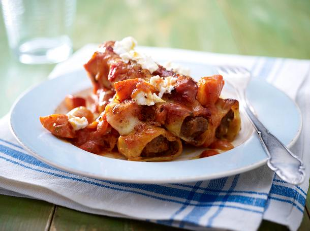Cannelloni mit Chili-Hack in Kürbis-Tomatensoße Rezept