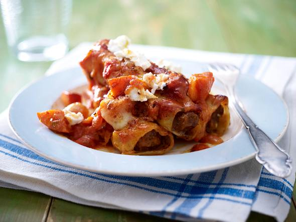 Cannelloni mit Chilihack in Kürbis-Tomaten-Soße Rezept