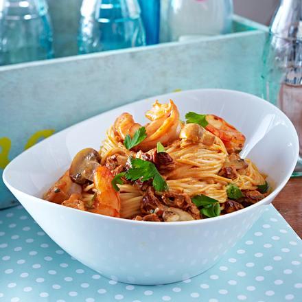 Capellini mit Ziegenkäse und getrockneten Tomaten (Angel-Hair-Pasta) Rezept