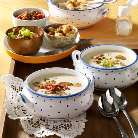 Champignon-Cremesuppe mit dreierlei Toppings Rezept