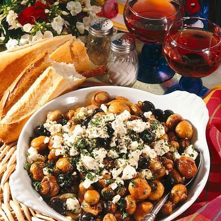 Champignonpfanne mit Schafskäse Rezept