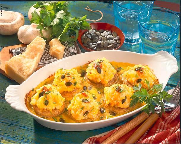 Champignons mit Möhren-Kartoffel-Püree Rezept