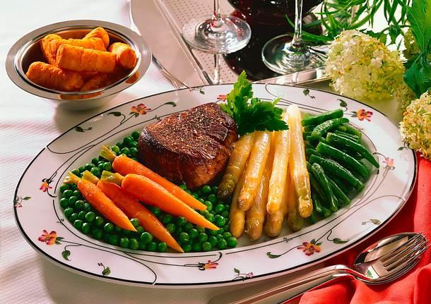 Chateaubriand mit Gemüse und Kroketten Rezept