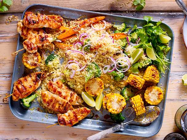 Chicken-Sticks mit Couscous-Gemüse Rezept