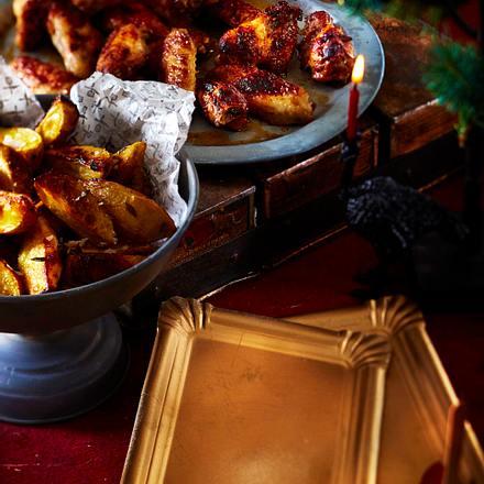 Chickenwings mit Fritters und zimtiger Barbecuesoße Rezept
