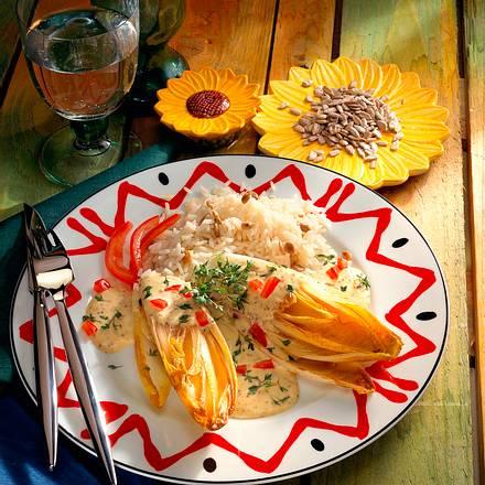 Chicoree mit Senf-Kressesoße Rezept