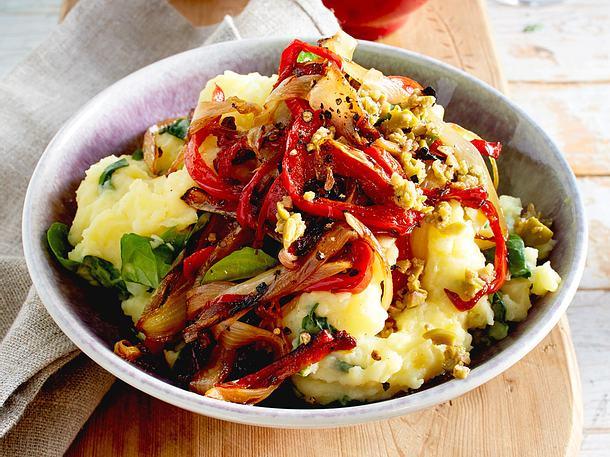 Chicorée-Paprika-Gemüse mit Kartoffelpüree Rezept