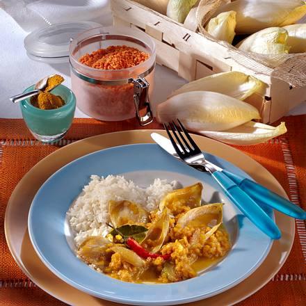 Chicorée-Rote-Linsen-Gemüse in Curry-Soße zu Reis Rezept