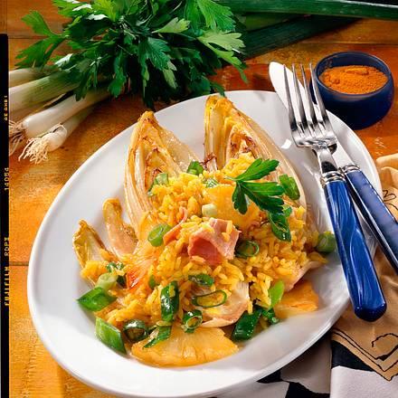 Chicorée-Schiffchen mit Curry-Reis Rezept