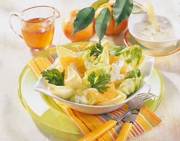 Chicorée und Salatherzen mit Clementinendressing Rezept