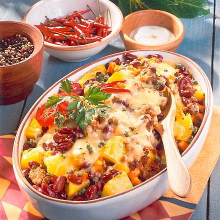 Chili con Carne-Auflauf mit Kartoffeln Rezept