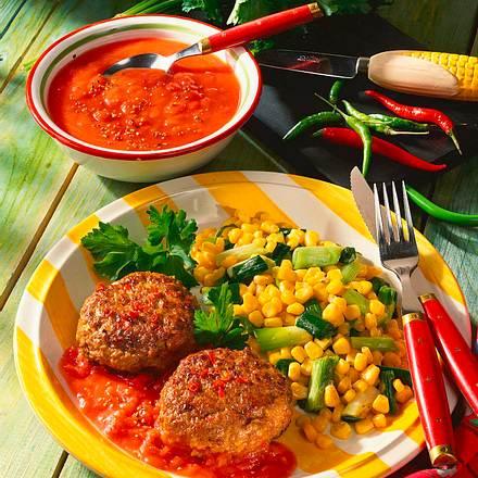 Chili-Frikadellen mit Lauchzwiebel-Mais-Gemüse und Rezept