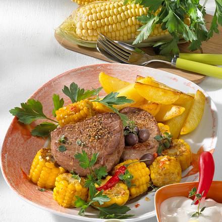 Chili-Maiskolben mit Steak Rezept