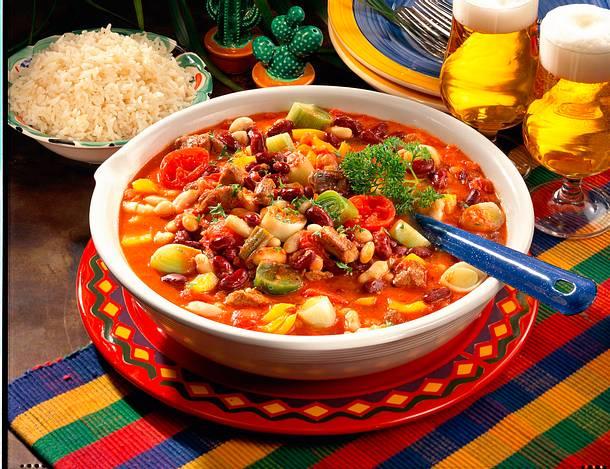 Chili-Pfanne mit Reis  Rezept