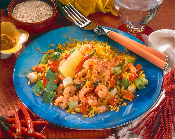 Chili-Sesam-Garnelen auf Curry-Reis Rezept