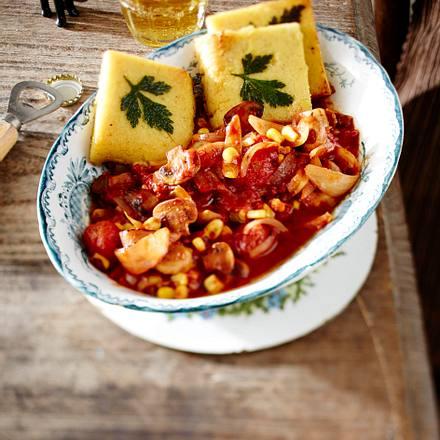 Chili sin Carne (pikanter Eintopf mit Polentaschnitten) Rezept