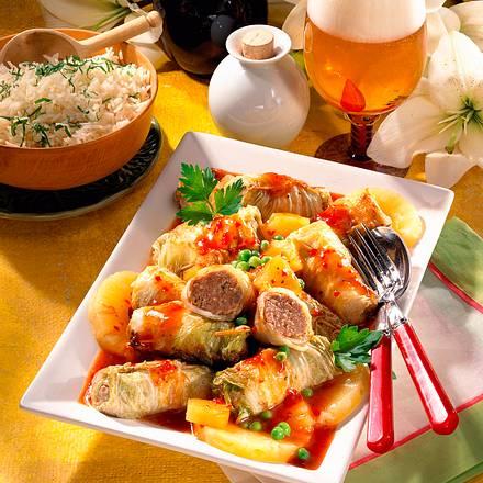 Chinakohl-Röllchen süß-sauer Rezept