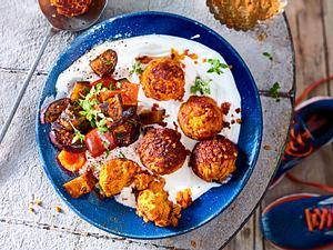 Crunchy Linsen-Falafel mit Joghurtdip Rezept