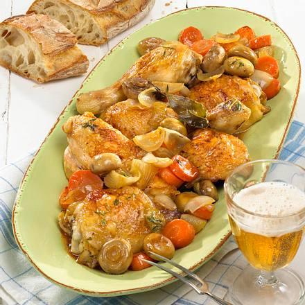 Coq au Cidre aus dem Ofen Rezept