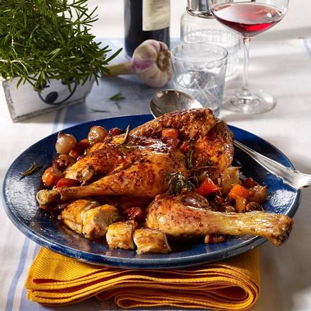 Coq au vin (Geschmortes Hähnchen in Rotwein) Rezept