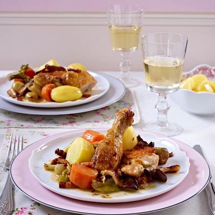Coq au Vin mit Weißwein Rezept