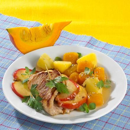 Cordon bleu mit Kartoffel-Kürbisgemüse Rezept
