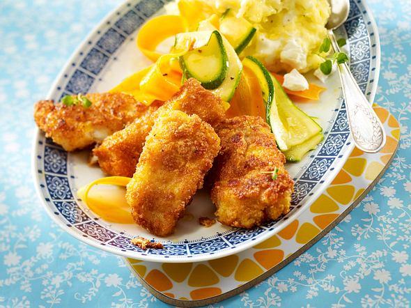 Cornflakes-Fischstäbchen mit Püree Rezept