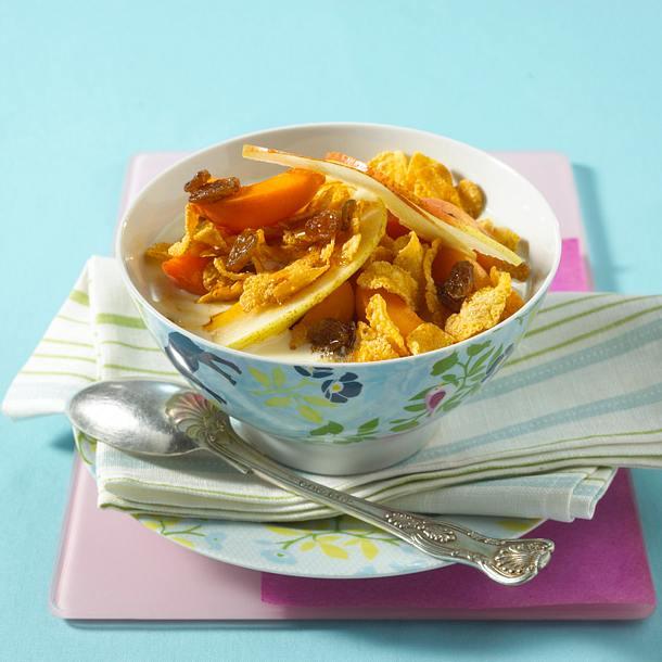 Cornflakes mit Birne, Aprikose, Rosinen und Sojamilch Rezept