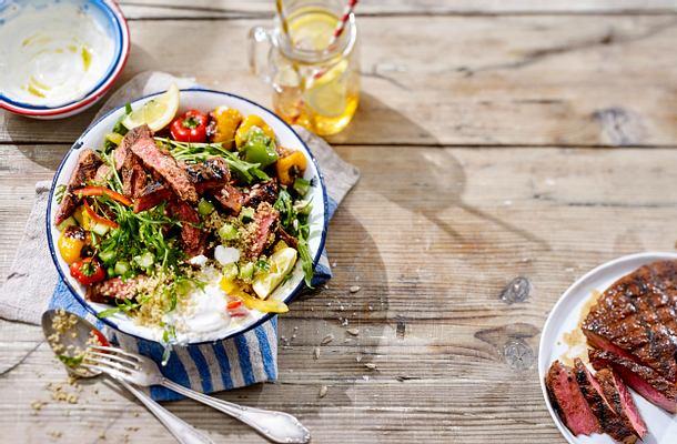 Couscous-Salat mit Steakstreifen Rezept
