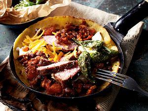 Cowboy-Chiliburritos mit Steakstreifen und Pimientos Rezept