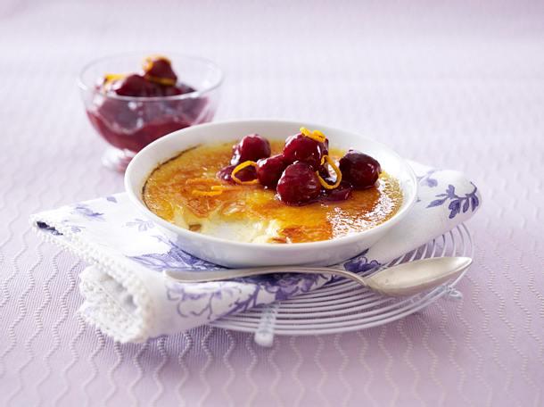 Crème brûlée mit heißen Kirschen Rezept