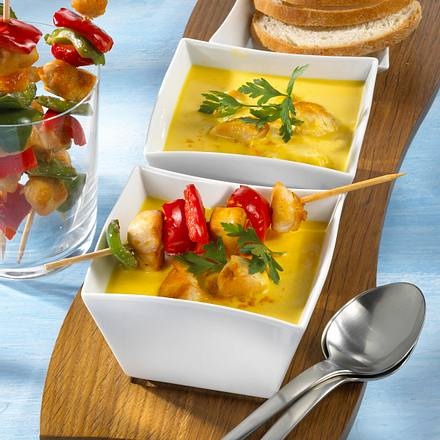 Cremige Currysuppe mit Hähnchenspieß Rezept
