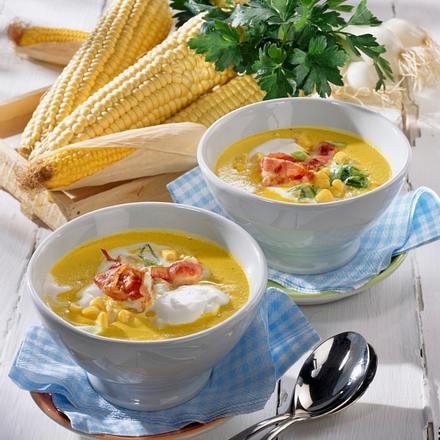 Cremige Maissuppe mit Knusperspeck Rezept