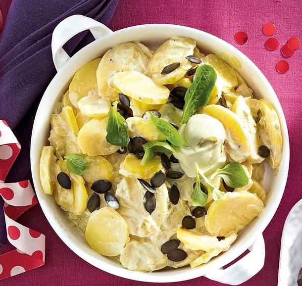 cremiger kartoffelsalat mit k rbiskernen rezept chefkoch rezepte auf kochen. Black Bedroom Furniture Sets. Home Design Ideas