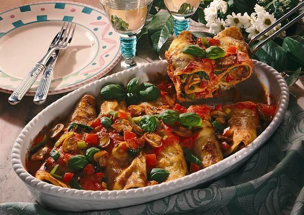 Crespelle mit Gemüsefüllung und Tomatencreme Rezept