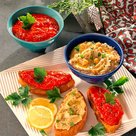 Crostini mit Kichererbsen- und Paprika-Püree Rezept