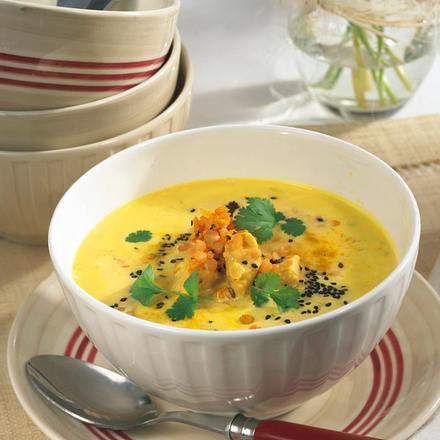 Curry-Cremesuppe mit roten Linsen Rezept
