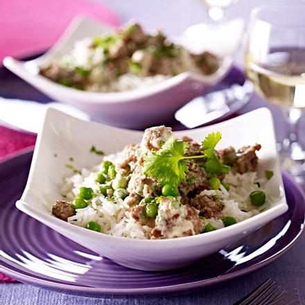 Curry d'agneau aux petits pois Rezept
