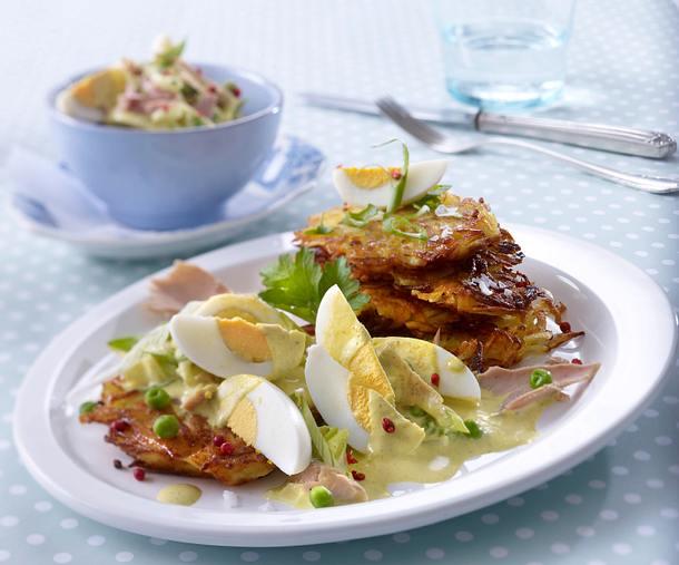 Curry-Eiersalat auf Rösti Rezept