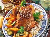 Curry-Hähnchen auf Basmatireis mit Gemüse Rezept