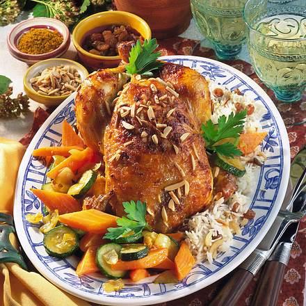Curry-Hähnchen mit Mandel-Reis Rezept