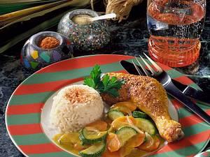 Curry-Hähnchenschenkel mit Gemüse Rezept