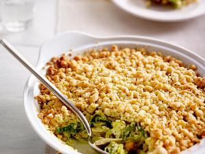 Curry-Porree-Hähnchen-Crumble Rezept